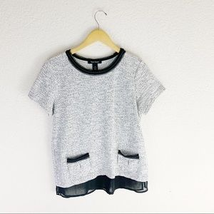 White House black market lace knit blouse